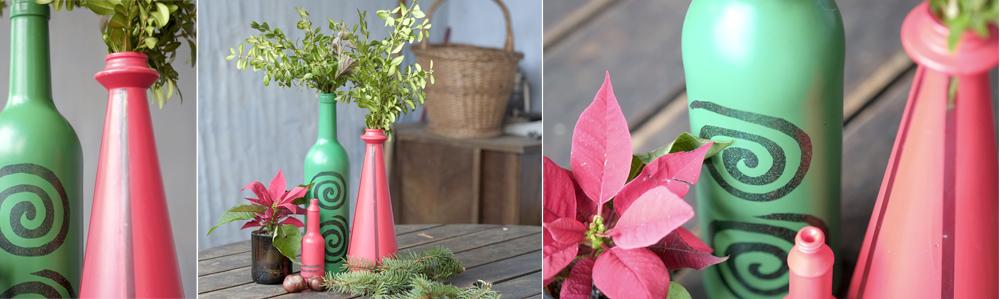 Weihnachtsdeko selber machen upcycling vasen aus flaschen - Deko mit flaschen ...