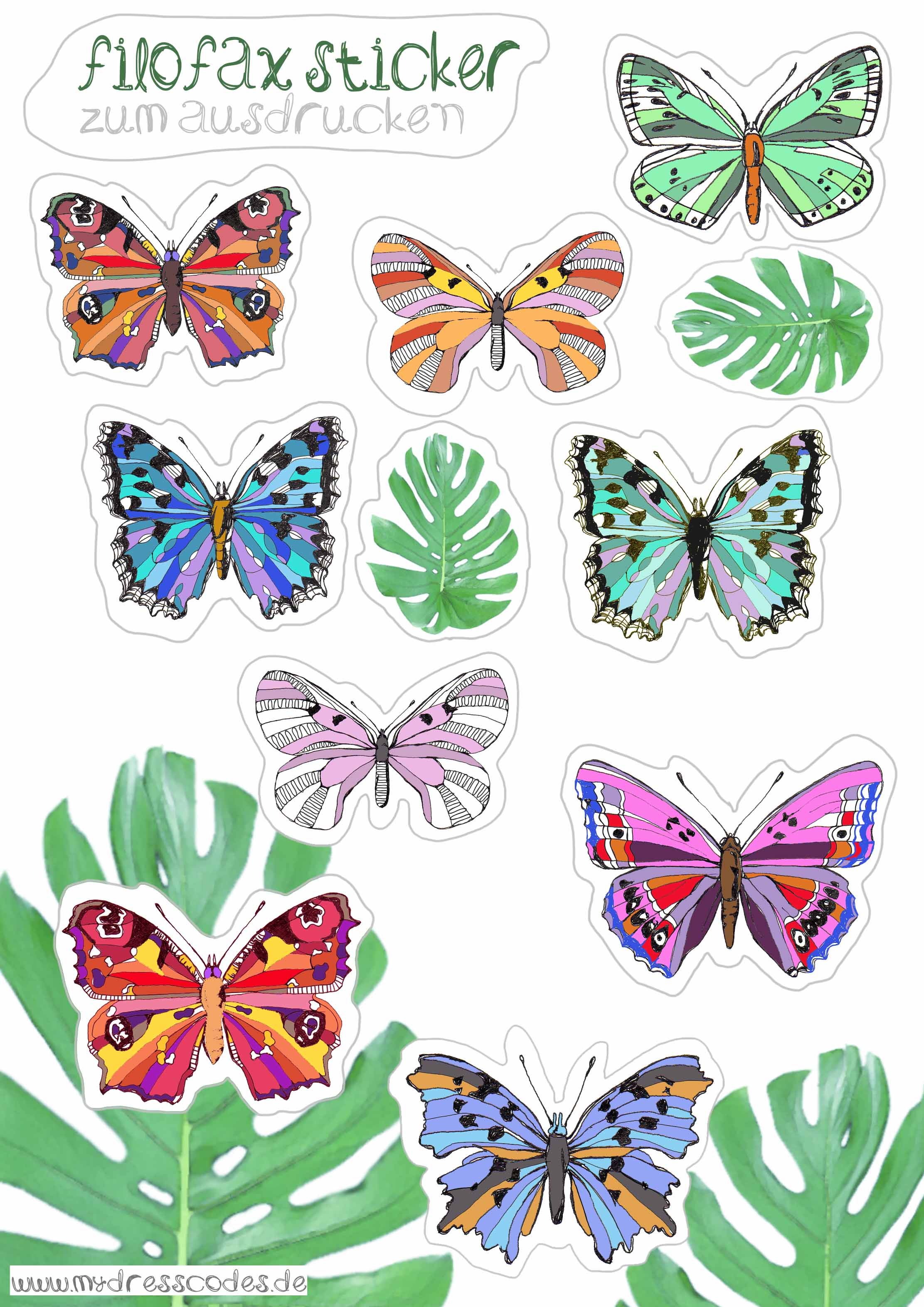 Filofax sticker freebies botanic floral butterflies